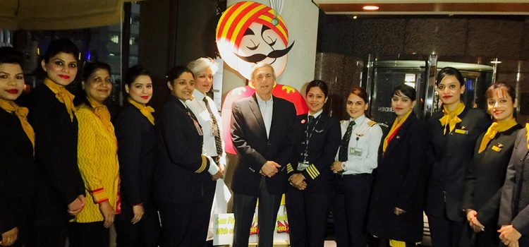 Celebrating with Air India's all Women crew on the Delhi-SFO-Delhi flight – Women's Day 2016